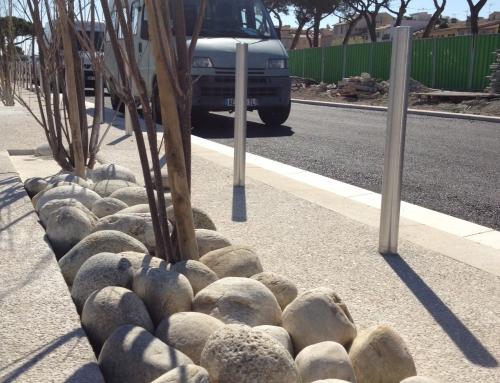 Aménagement d'un parking en galets naturels Ticino