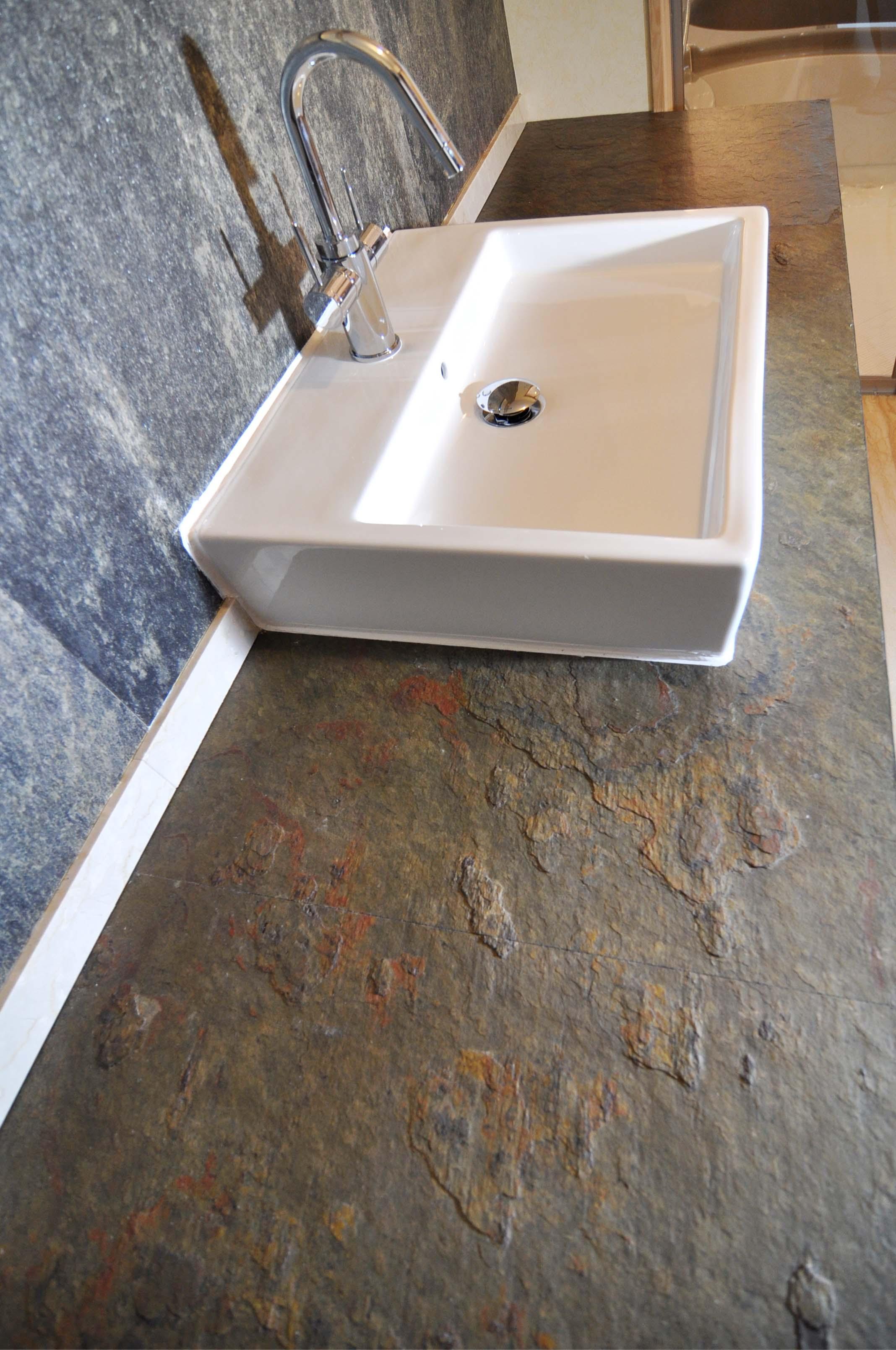Plan de salle de bain en feuilles d 39 ardoise r alisation woodstone project - Feuille d ardoise ...